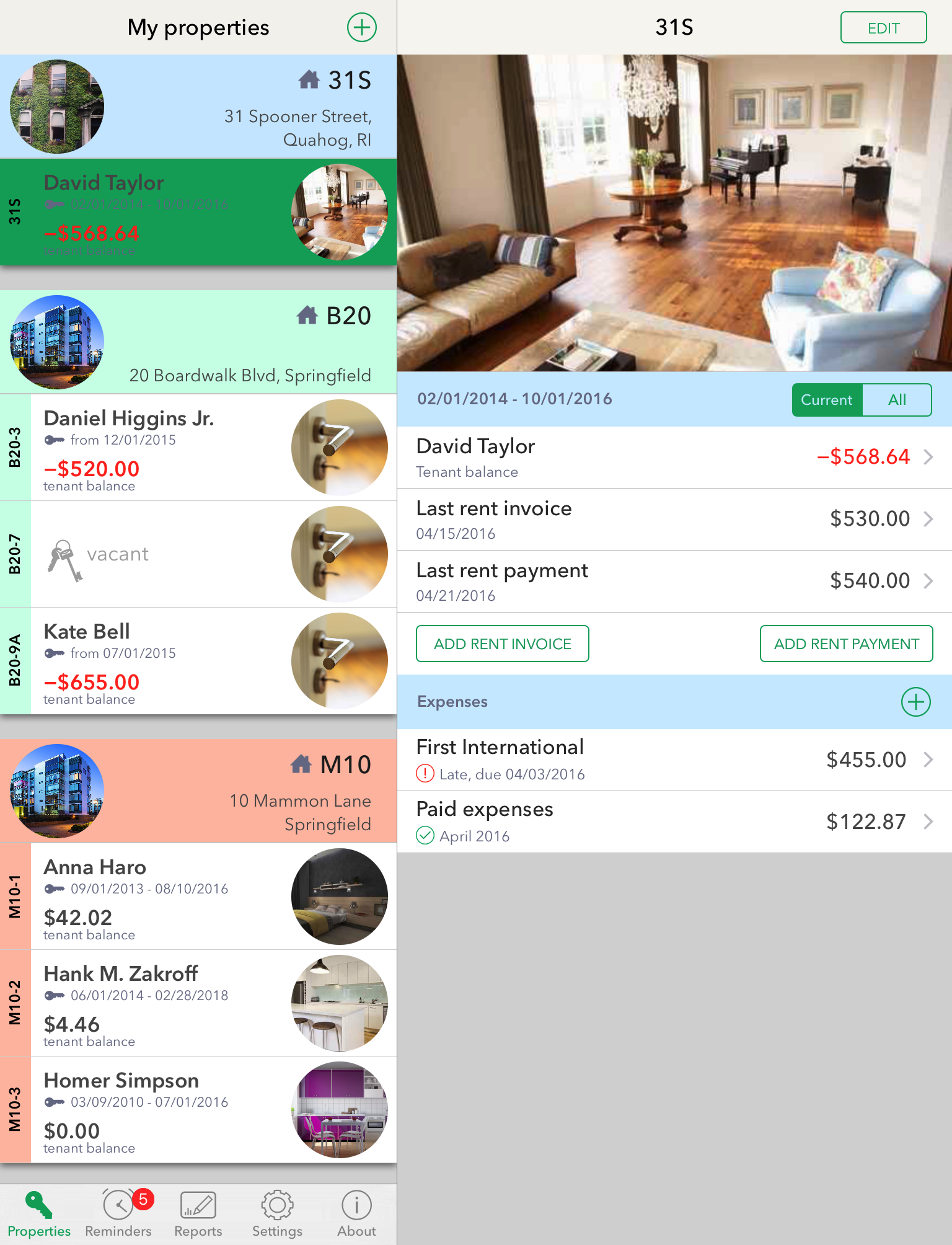 Rental unit dashboard - iPad